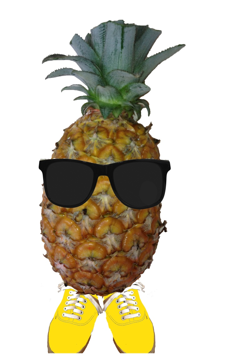ananas with shoes and sunglasses and no extra shoelace on top