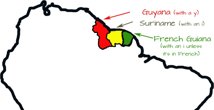 three guianas map with i and y